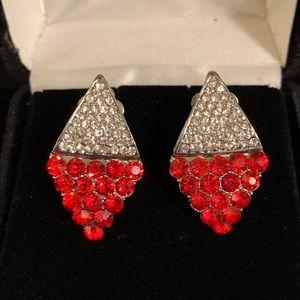 Diamond Shaped Ruby & CZ Silver Clip-on Earrings